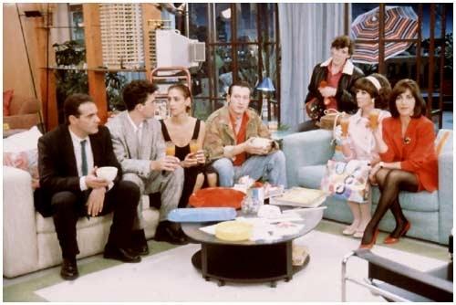 José Antonio Navarro, Antonio Banderas, Maria Barranco, Ángel de Andrés López, Julieta Serrano e Carmen Maura, in una foto promozionale per Donne sull'orlo di una crisi di nervi