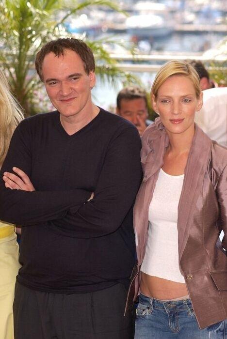 Quentin Tarantino e Uma Thurman al photocall di Cannes 2004