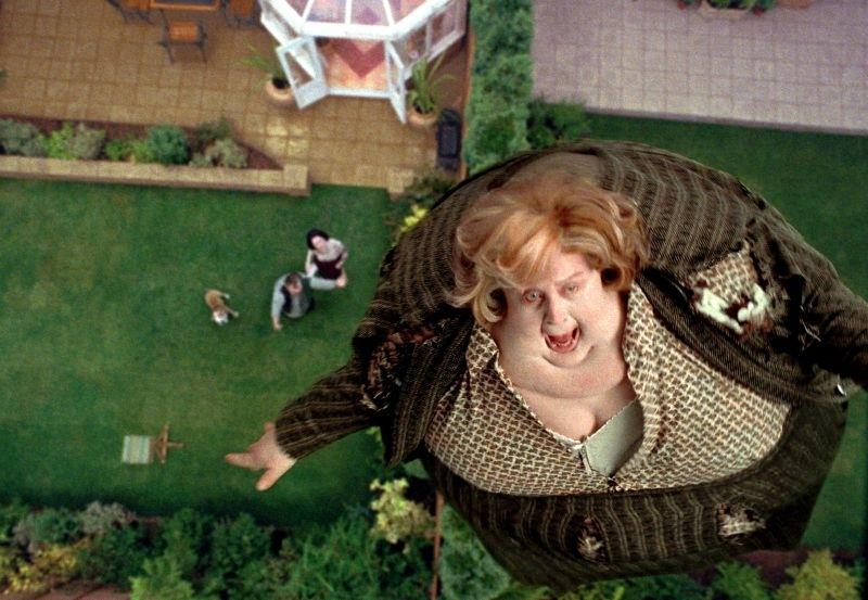 Pam Ferris, nei panni della Zia Marge, sorvola Privet Drive