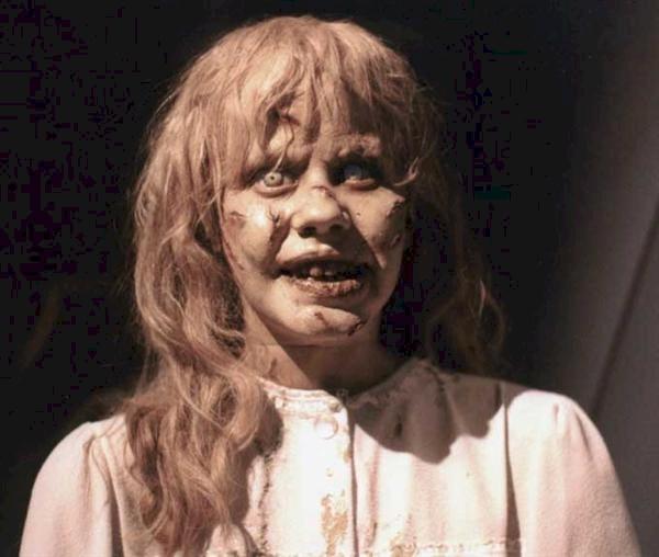 Linda Blair sul set de L'esorcista, in una foto per il make up test
