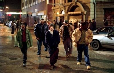 Eminem, Mekhi Phifer e Evan Jones in una scena di 8 Mile