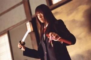 La perfida Chiaki Kuriyama in una scena di Kill Bill: Volume 1
