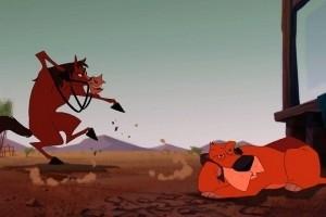 Una scena del film d'animazione Mucche alla riscossa