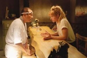 Uma Thurman e Sonny Chiba in una scena di Kill Bill: Volume 1