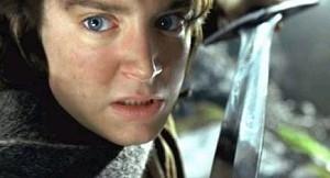 Elijah Wood in una scena di Il signore degli anelli - Le due torri