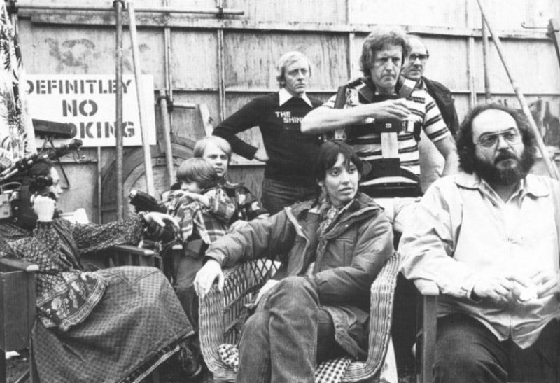 Il regista Stanley Kubrick e Shelley Duvall sul set di Shining