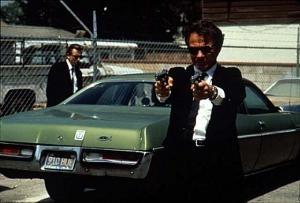 Harvey Keitel e Tim Roth in una scena di Le Iene.