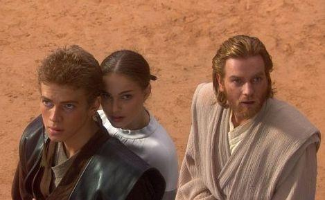 Hayden Christensen, Natalie Portman e Ewan McGregor in Star Wars ep. II