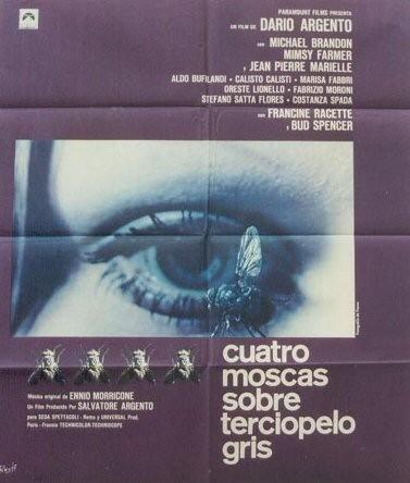 Il manifesto spagnolo di 4 mosche di velluto grigio