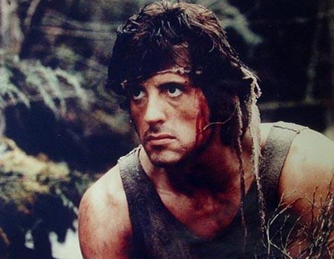 Sylvester Stallone in una scena di Rambo