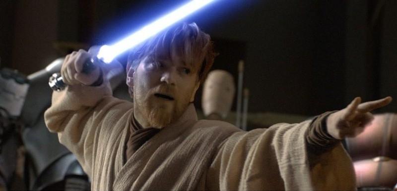 Ewan McGregor in una sequenza del film Star Wars ep. III - La vendetta dei Sith