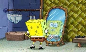 Il protagonista di The SpongeBob SquarePants Movie allo specchio