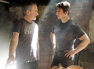 Steven Spielberg e Tom Cruise sul set de La guerra dei mondi