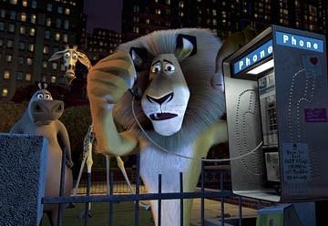 Una scena di Madagascar con il leone protagonista del film