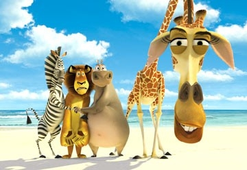Una scena di Madagascar ambientata sulla spiaggia