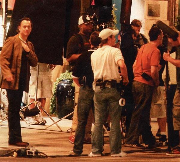 Tom Hanks e la troupe de Il Codice da Vinci