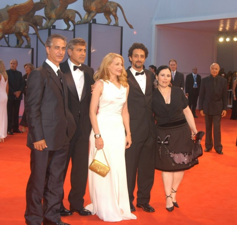 David Strathairn, George Clooney, Patricia Clarkson, Grant Heslov e Alex Borstein a Venezia per presentare Good Night, and Good Luck