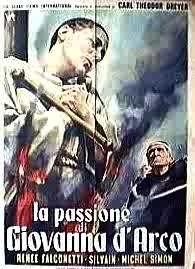 Una delle locandine italiane de LA PASSIONE DI GIOVANNA D'ARCO