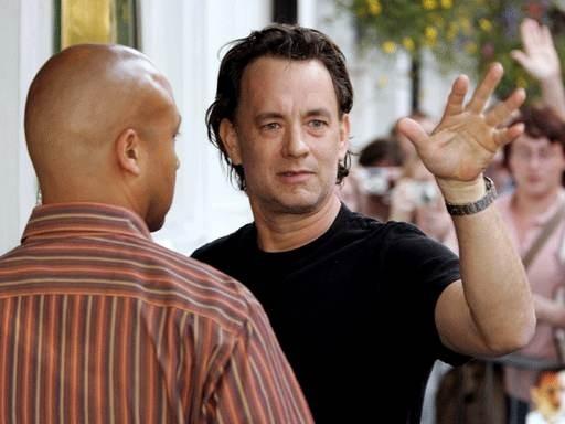 Tom Hanks sul set de Il codice Da Vinci
