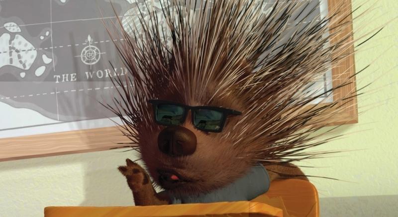 Un simpatico dj porcospino in Chicken Little - Amici per le penne