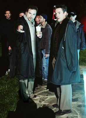Shane Black e Robert Downey Jr. sul set di Kiss Kiss, Bang Bang