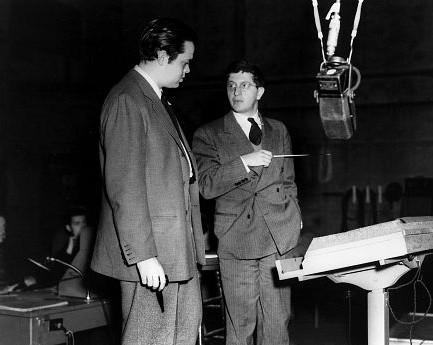 Orson Welles e Bernard Herrmann sul set di Quarto potere