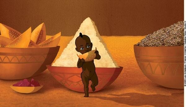 una scena del film d'animazione Kirikù e gli animali selvaggi