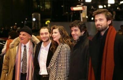 Placido, Claudio Santamaria, Anna Mouglalis, Pierfrancesco Favino e Kim Rossi Stuart a Berlino 2006 per presentare Romanzo Criminale