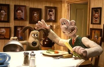 Wallace & Gromit: La maledizione del coniglio mannaro, i due protagonisti a tavola
