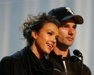 Jessica Alba ed Eric Bana durante le prove
