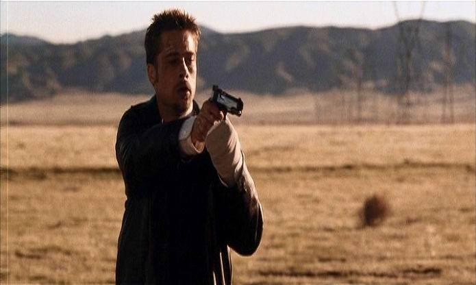 Brad Pitt nella scena conclusiva di SEVEN