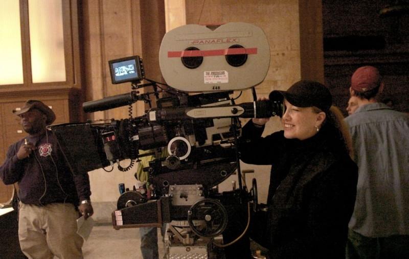 La regista Susan Stroman sul set di The Producers