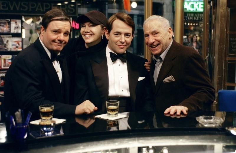 Nathan Lane, Susan Stroman, Matthew Broderick e Mel Brooks sul set di The Producers