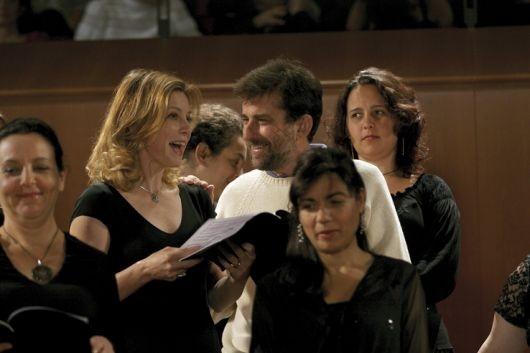 Nanni Moretti e Margherita Buy sul set de Il caimano