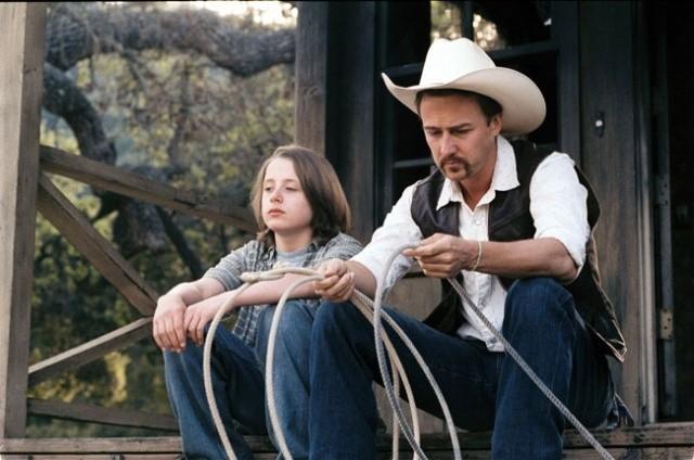 Rory Culkin e Edward Norton in una scena di Down in the Valley