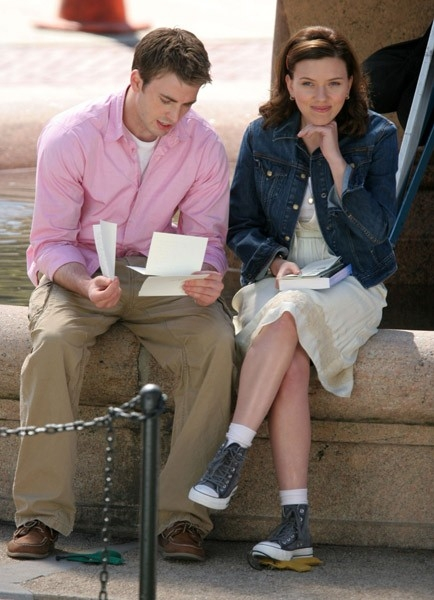 Scarlett Johansson  e Chris Evans sul set di The Nanny Diaries