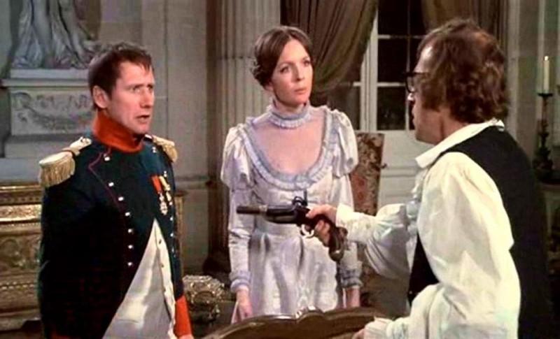 James Tolkan, Woody Allen e Diane Keaton in una scena di AMORE E GUERRA