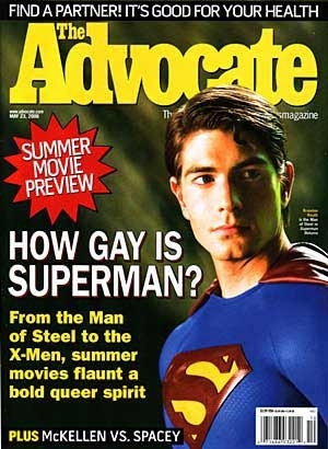 Brandon Routh su una copertina del periodico gay The Advocate dedicata a Superman Returns