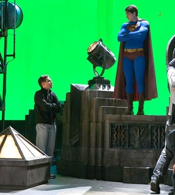 Bryan Singer e Brandon Routh sul set di Superman Returns