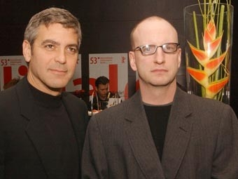 George Clooney e Steven Soderbergh a Berlino 2003 per presentare Solaris