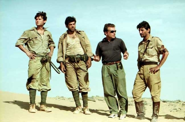 Paolo Briguglia, Pierfrancesco Favino, Enzo Monteleone ed Emilio Solfrizzi sul set di El Alamein