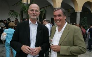 Locarno 2006 - Cerimonia d´apertura, Jean-Frédéric Jauslin, direttore dell´ufficio federale della cultura e Gabriele Gendotti, consigliere di stato