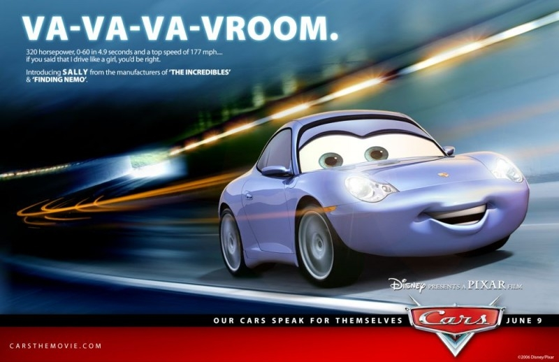 Un'immagine promozionale con Sally per Cars