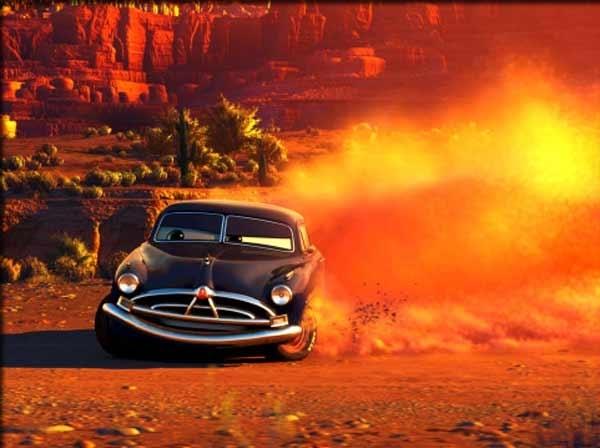 Una scena del film d'animazione Cars