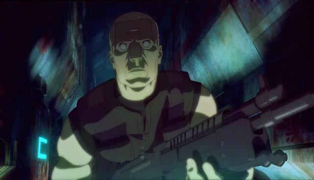 Una scena d'azione del film Ghost in the Shell 2 - L'attacco dei cyborg