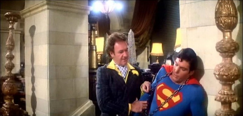Gene Hackman e Christopher Reeve in una scena di SUPERMAN