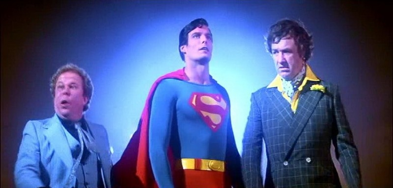 Ned Beatty, Christopher Reeve e Gene Hackman in una scena di SUPERMAN