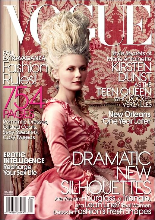 Una splendida Kirsten Dunst in versione Marie-Antoinette, sulla cover di Vogue.