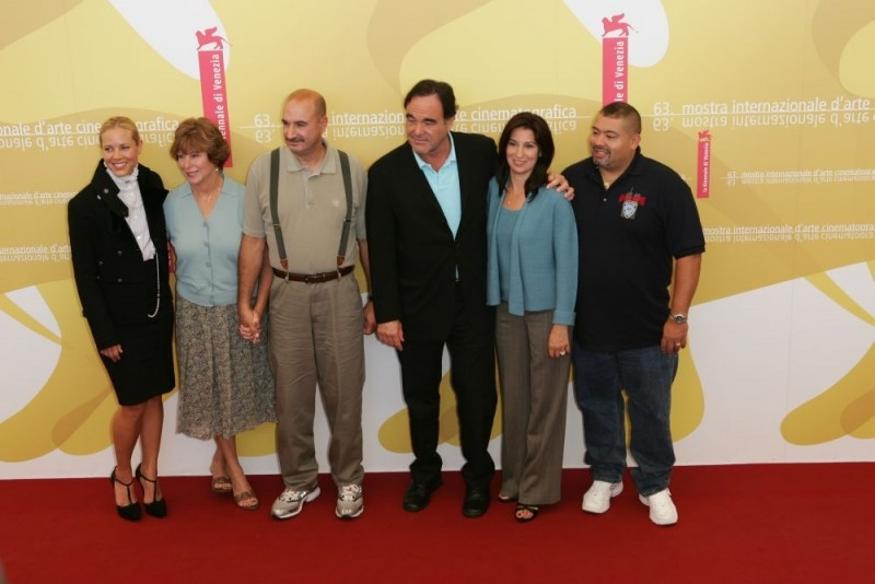 Maria Bello, Donna McLoughlin, John McLoughlin, Oliver Stone, Alison Jimeno and William Jimeno a Venezia 2006 per presentare World Trade Center