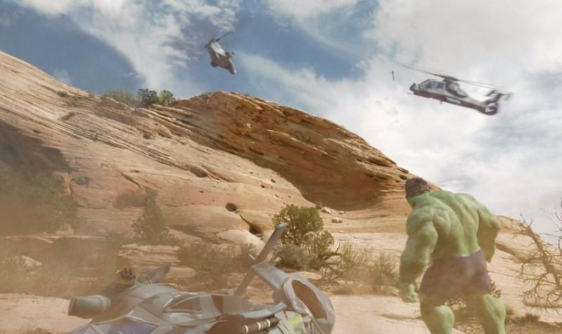 Una scena d'azione in 'Hulk'